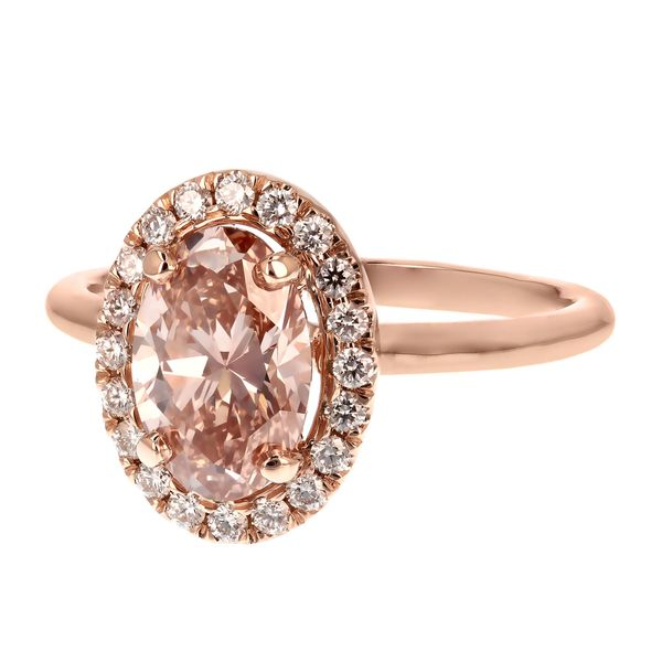 Pink Oval Diamond Halo Engagement Ring Image 2 Fox Fine Jewelry Ventura, CA