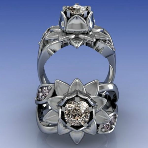 Lotus Flower Diamond Engagement Ring (Render)
