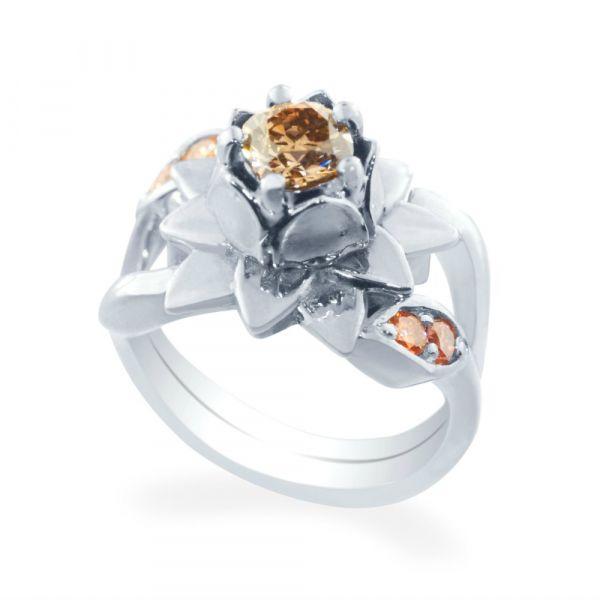 Lotus Flower Diamond Engagement Ring Fox Fine Jewelry Ventura Ca