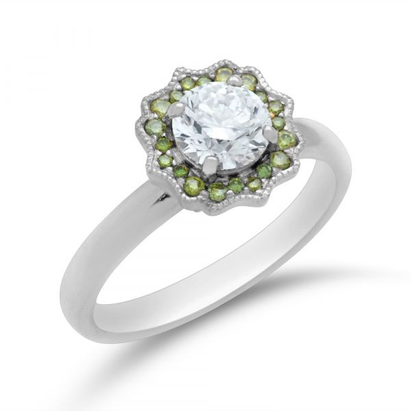 Green-diamond-and-white-diamond-floral-halo-engagement-ring-white-gold