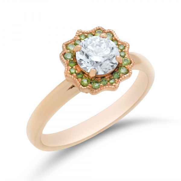 Green-diamond-and-white-diamond-floral-halo-engagement-ring-rose-gold