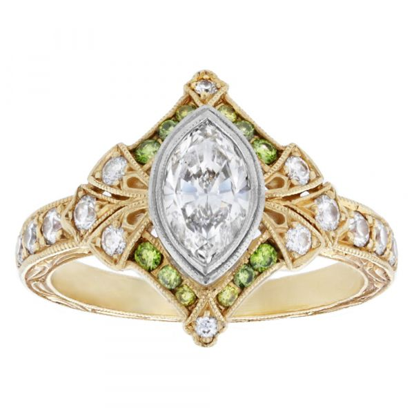 DER118-Marquise-engagement-ring-with-green-diamonds-and-engraving