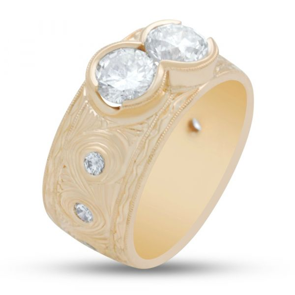two-stone-diamond-ring-yellow-gold, high angle