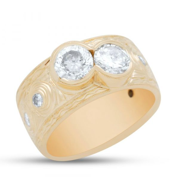 two-stone-diamond-ring-yellow-gold, top angle