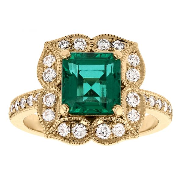 FR113-Antique-emerald-ring- floral-diamond-halo