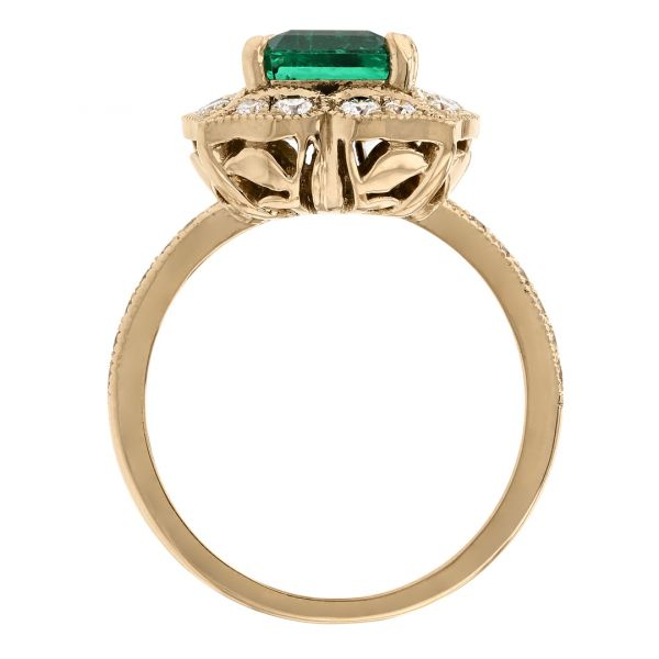 FR113-Antique-emerald-ring- floral-diamond-halo3