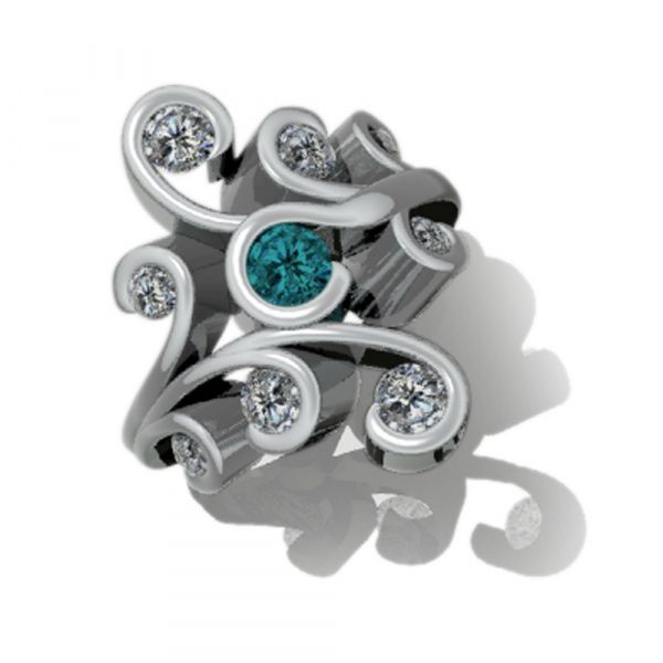 blue diamond and white diamond organic swirling ring