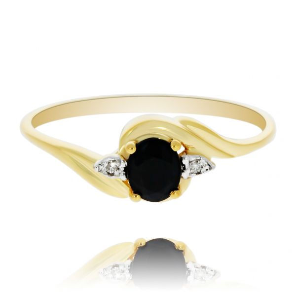 Yellow Gold Round Black Sapphire Ring Georgies Fine Jewellery Narooma, New South Wales