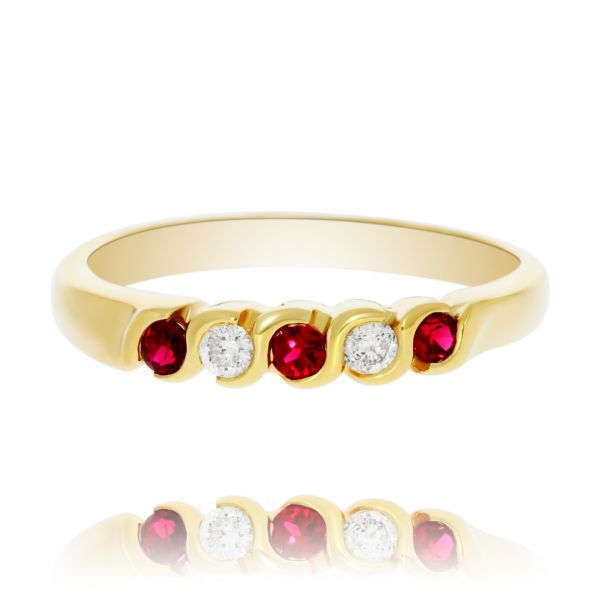 Yellow Gold Ruby and Diamond Band Georgies Fine Jewellery Narooma, New South Wales