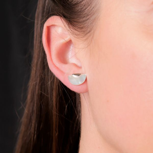 Onatah Semi Circle Studs - Mother of Pearl Georgies Fine Jewellery Narooma, New South Wales