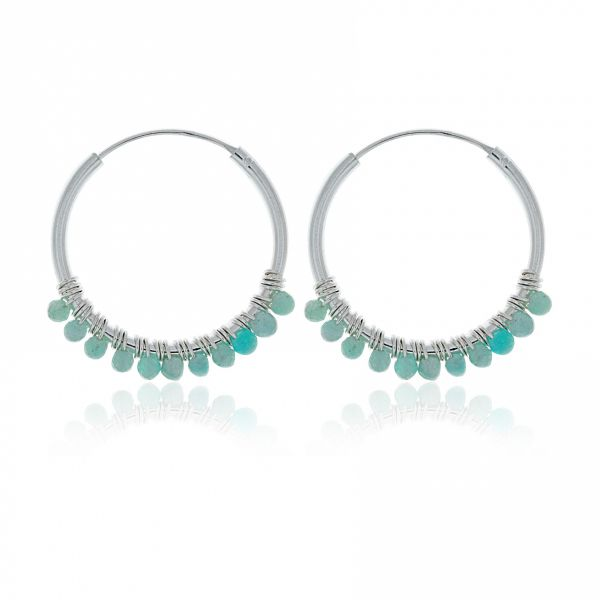 Onatah Amazonite Bead Hoops Georgies Fine Jewellery Narooma, New South Wales