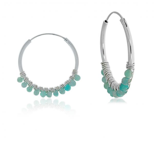 Onatah Amazonite Bead Hoops Image 2 Georgies Fine Jewellery Narooma, New South Wales