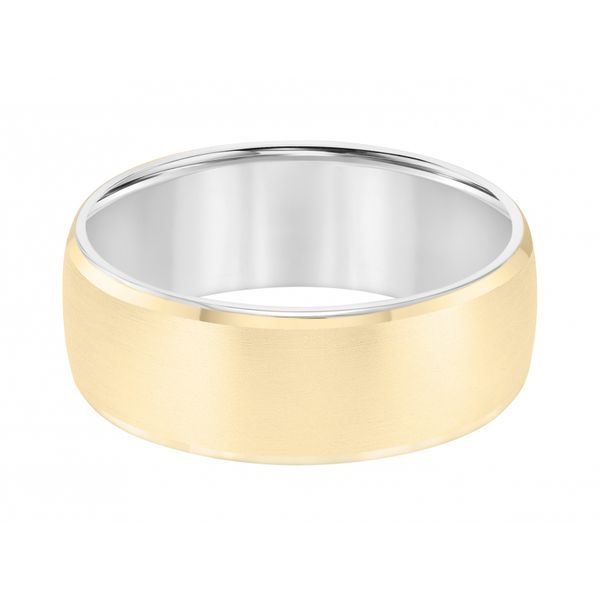 14K Two Tone Flat Wedding Band Image 2  ,