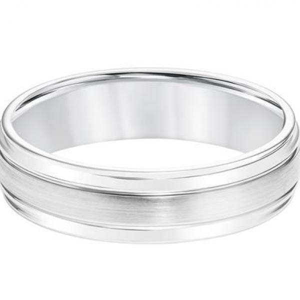 14K White Satin Finish Wedding Band Image 2  ,