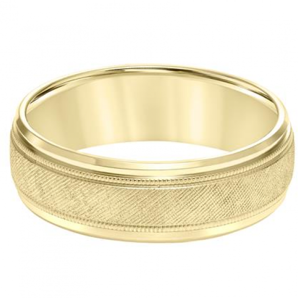 14K Yellow Gold Textured Wedding Band Image 2  ,