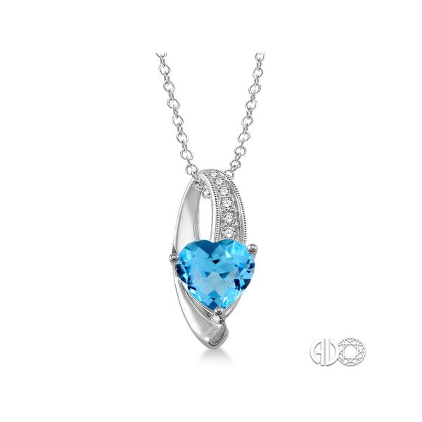 Sterling Silver Blue Topaz & Diamond Heart Pendant Martin Busch Inc. New York, NY