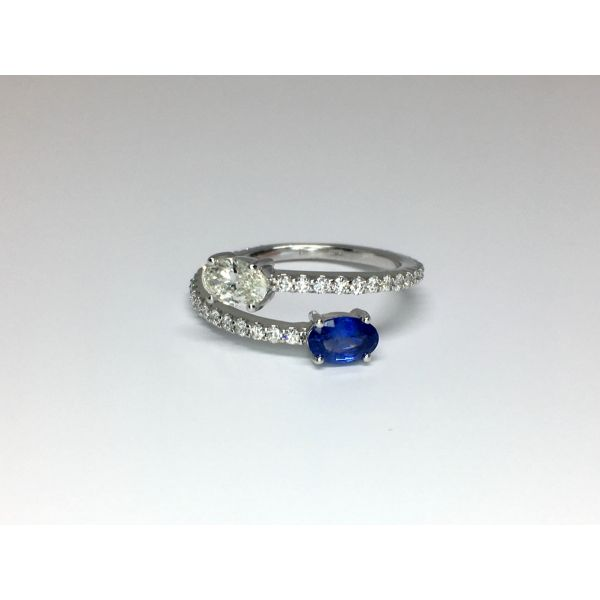 Sapphire and Diamond Bypass Ring Martin Busch Inc. New York, NY