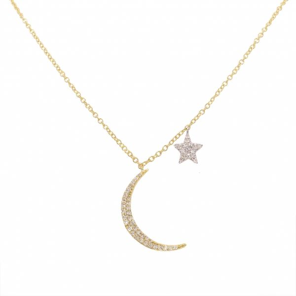 Meira T. Moon and Star Diamond Necklace Padis Jewelry San Francisco, CA