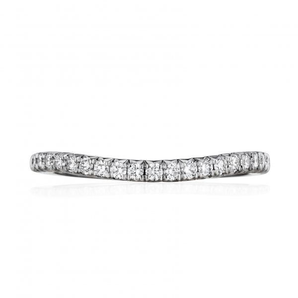 Henri Daussi | 18K White Gold Contoured Pavéé Diamond Wedding Band | Style No. 001-656-00095