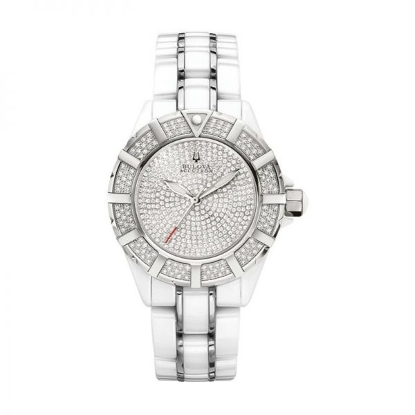 Bulova Mirador Collection | White Ceramic & Stainless Steel Watch & Bracelet | Style No. 001-604-00131