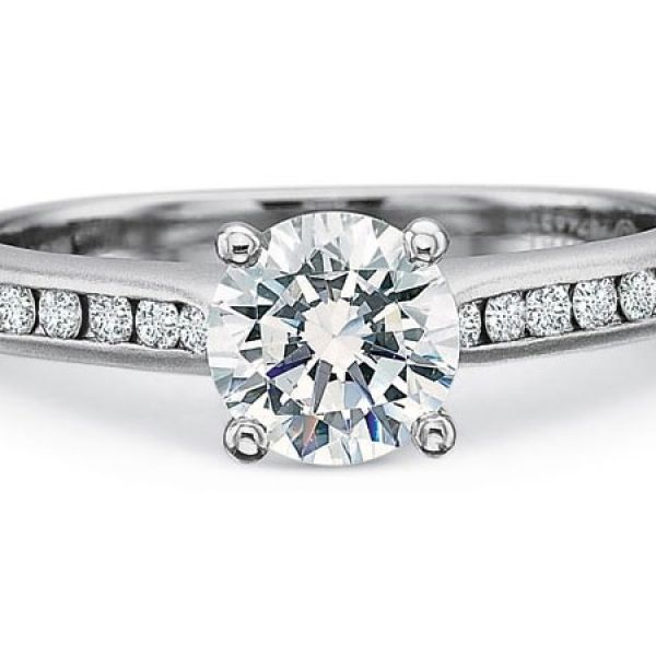 Precision Set Engagement Ring | 18K White Gold Channel Set Round Diamond Ring | Style No. 001-711-00712