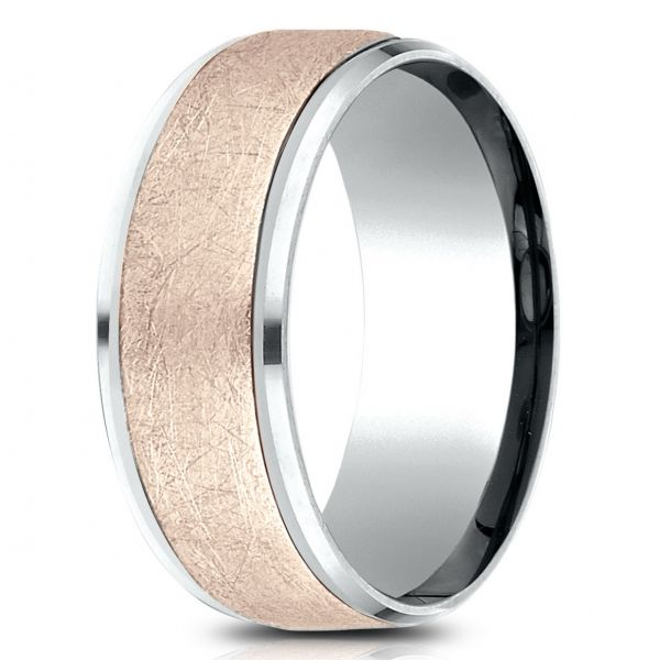Ammara Stone | 14K White and Rose Gold 9mm Beveled Edge Men's Ring | Style No. 001-709-01784 CF439070
