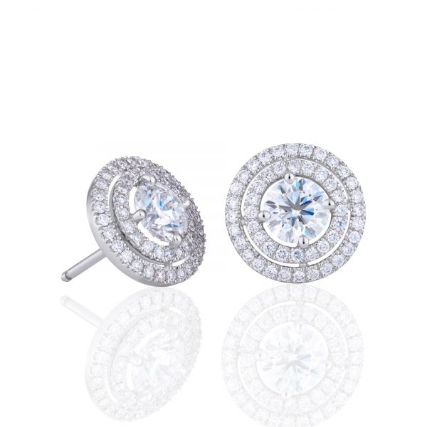 Forevermark Double Halo Diamond Earrings Padis Jewelry San Francisco, CA