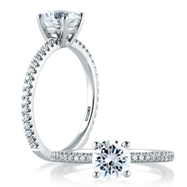 A. Jaffe Engagement Ring | 18K White Gold Four Prong Ring with Diamond Accents | Style No. 001-785-00630 ME1774/98