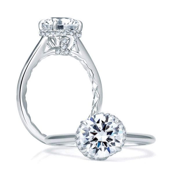 A. JAFFE Engagement Ring | 18K White Gold Four Prong Ring with MicroPavéDiamond Accents | Style No. 001-785-00