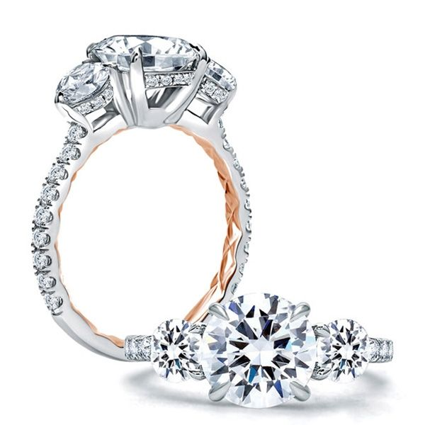 A. JAFFE Engagement Ring | 18K White Gold Three Stone Ring with Rose Gold Quilting | Style No. 001-785-00716 ME1854Q/308
