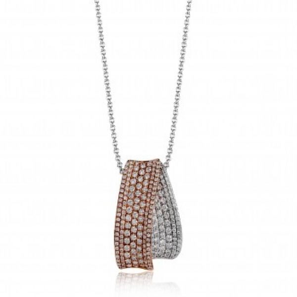 Simon G | 18K White & Rose Gold Pavéé Diamond Pendant | Style No. 001-718-00594