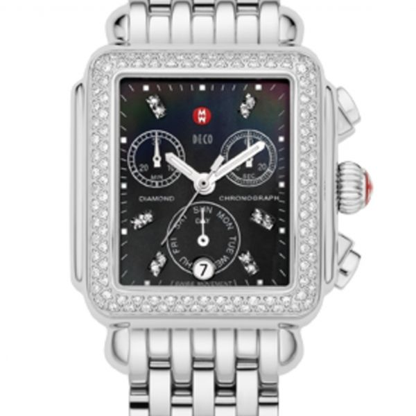 Michele Deco 18 Collection | Chrome Watch with Black Mother of Pearl | Style No. 001-608-02835