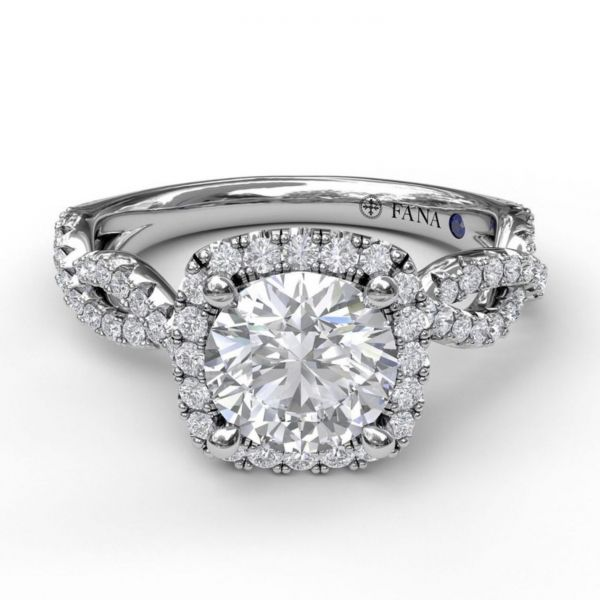 Round Cut with Cushion Halo Engagement Ring with Infinity Band Image 3 Parris Jewelers Hattiesburg, MS
