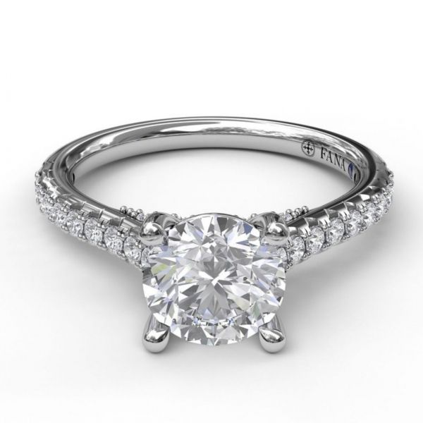 Diamond Lined Cathedral Band Engagement Ring Image 3  ,
