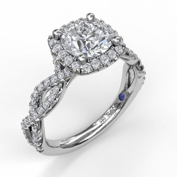Round Cut with Cushion Halo Engagement Ring with Infinity Band Parris Jewelers Hattiesburg, MS