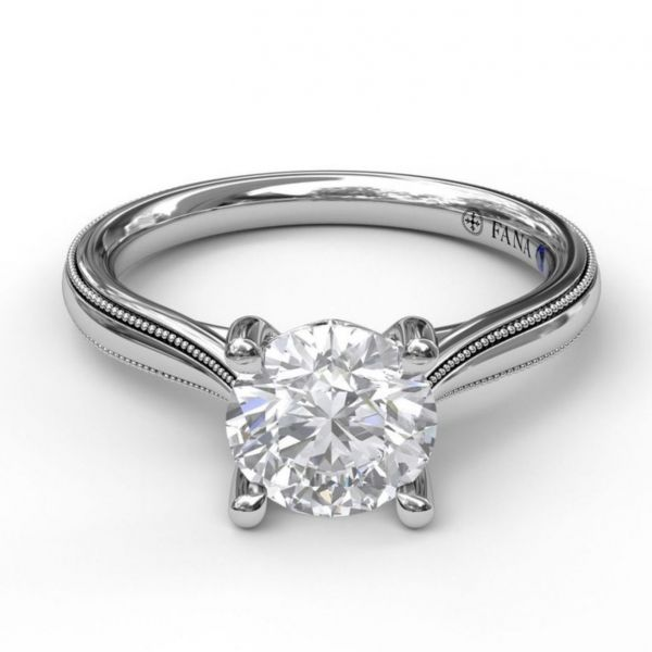Round Cut Solitaire with Milgrain-Edged Band Image 3  ,