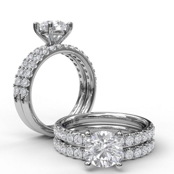 Classic Pave Round Cut Engagement Ring Image 4  ,