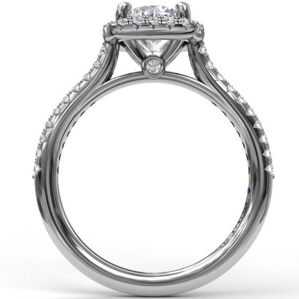 Bold Cushion Halo with Pave Band Engagement Ring Image 2  ,