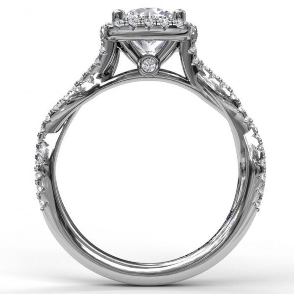 Round Cut with Cushion Halo Engagement Ring with Infinity Band Image 2 Parris Jewelers Hattiesburg, MS
