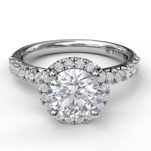 Round Halo and Round Cut with Pave Engagement Ring Image 3  ,