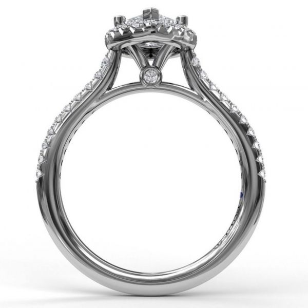 Marquise Diamond with Halo and Pave Engagement Ring Image 2  ,