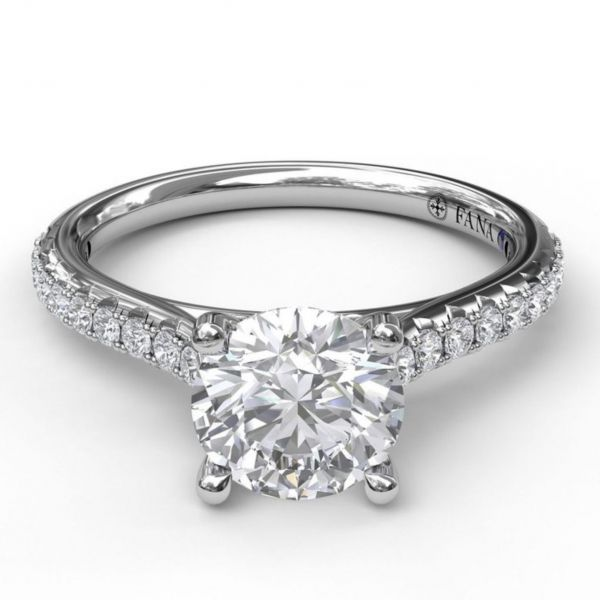 Delicate Round Cut and Pave Engagement Ring Image 3  ,