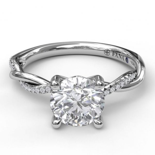 Gold and Diamond Twist Engagement Ring Image 3  ,