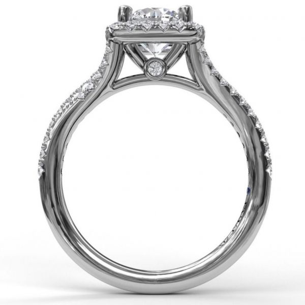 Cushion Halo with Pave Split Band Engagement Ring Image 2  ,