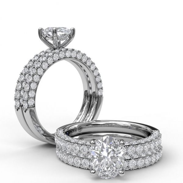 Delicate Oval Cut Solitaire with Diamond-Enhanced Band Image 4  ,