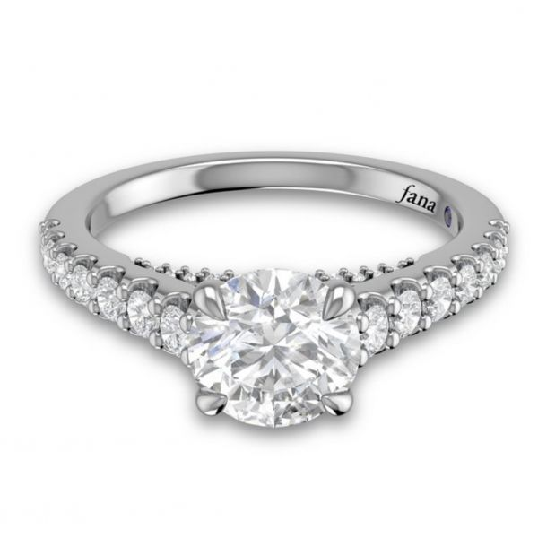 Round Cut and Bold Pave Engagement Ring Image 3  ,
