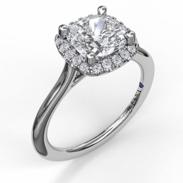 Cushion Cut Halo Engagement Ring Parris Jewelers Hattiesburg, MS
