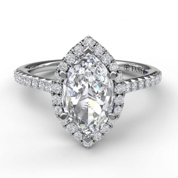 Marquise Diamond with Halo and Pave Engagement Ring Image 3  ,