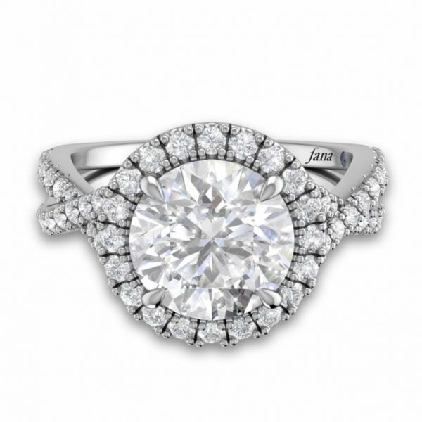 Round Halo Twist Engagement Ring Image 3 Parris Jewelers Hattiesburg, MS