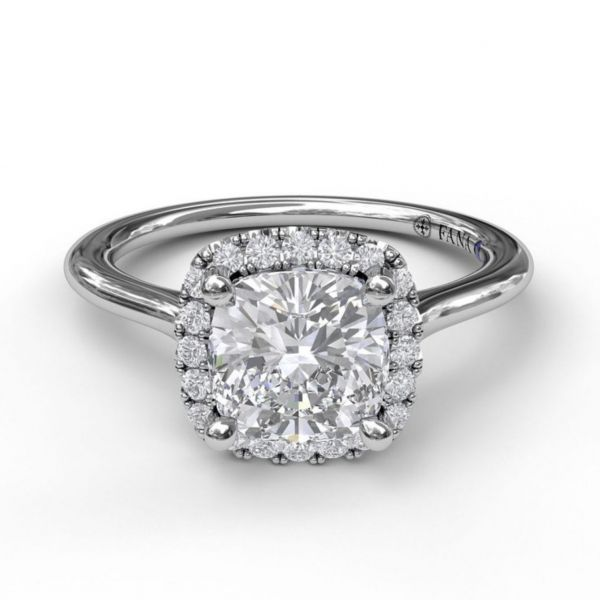 Cushion Cut Halo Engagement Ring Image 3 Parris Jewelers Hattiesburg, MS
